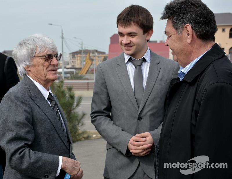 Bernie Ecclestone, Sergey Vorobyev, and Viktor Abulgafarov