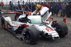 Benoit Tréluyer after crashing is Audi R18 at Silverstone