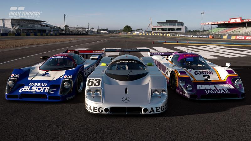 Nissan R92CP '92, Sauber Mercedes C9 '89, Jaguar XJR-9 '88