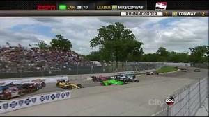 HUGE Pile Up Crash IndyCar Detroit Race 2 2013
