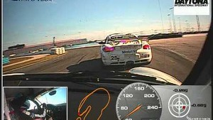 Daytona , Porsche GT3 , Nigel suffers tyre blow out on the banking at 135mph