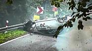 Wild rally crash sends car into the air