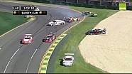 Porsche Carrera Cup 2015 Albert Park Race 1 oil chaos