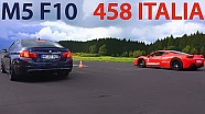 BMW M5 vs FERRARI 458 Italia DRAG RACE Acceleration Sound Rennen 550Plus Club Beschleunigung