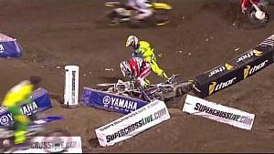 Weston Peick y Vince Friese lucha! 2016 monster Energy AMA Supercross ronda 1 Anaheim