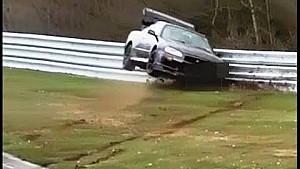Hard crash Nissan Skyline GT-R R34 Nordschleife Touristenfahrten 03.04.2016
