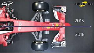 Giorgio Piola - Comparando el Ferrari SF15-T con el SF16-H