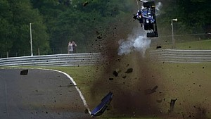 Onboard view of Vaidyanathan's crash at Oulton Park