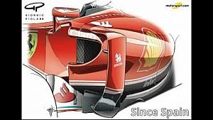 Джорджо Пиола – изменения воздухозаборника боковых понтонов Ferrari SF16-H (Испания)