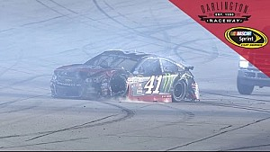 Heavy damage for Kurt Busch after contact with Menard