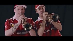 Vettel und Räikkönen spielen Trompete