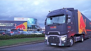 Red Bull Racing Trucks. Packed up and heading to Formula One's first test in Barcelona