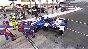 Castroneves, Sato, Hinchcliffe crash on pit road at Texas