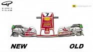 Ferrari front wing changes- Austria (2D)