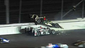 Will Power, Ed Carpenter and Takuma Sato make contact in turn 2